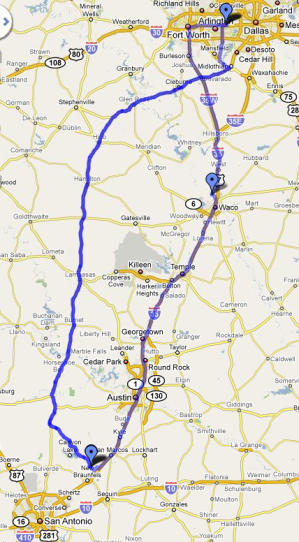 Route from SA to Dallas